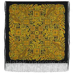 Печатный пряник 356-20, павлопосадский платок (шаль) из уплотненной шерсти с шелковой вязанной бахромой