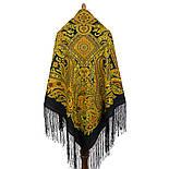 Печатный пряник 356-20, павлопосадский платок (шаль) из уплотненной шерсти с шелковой вязанной бахромой, фото 3