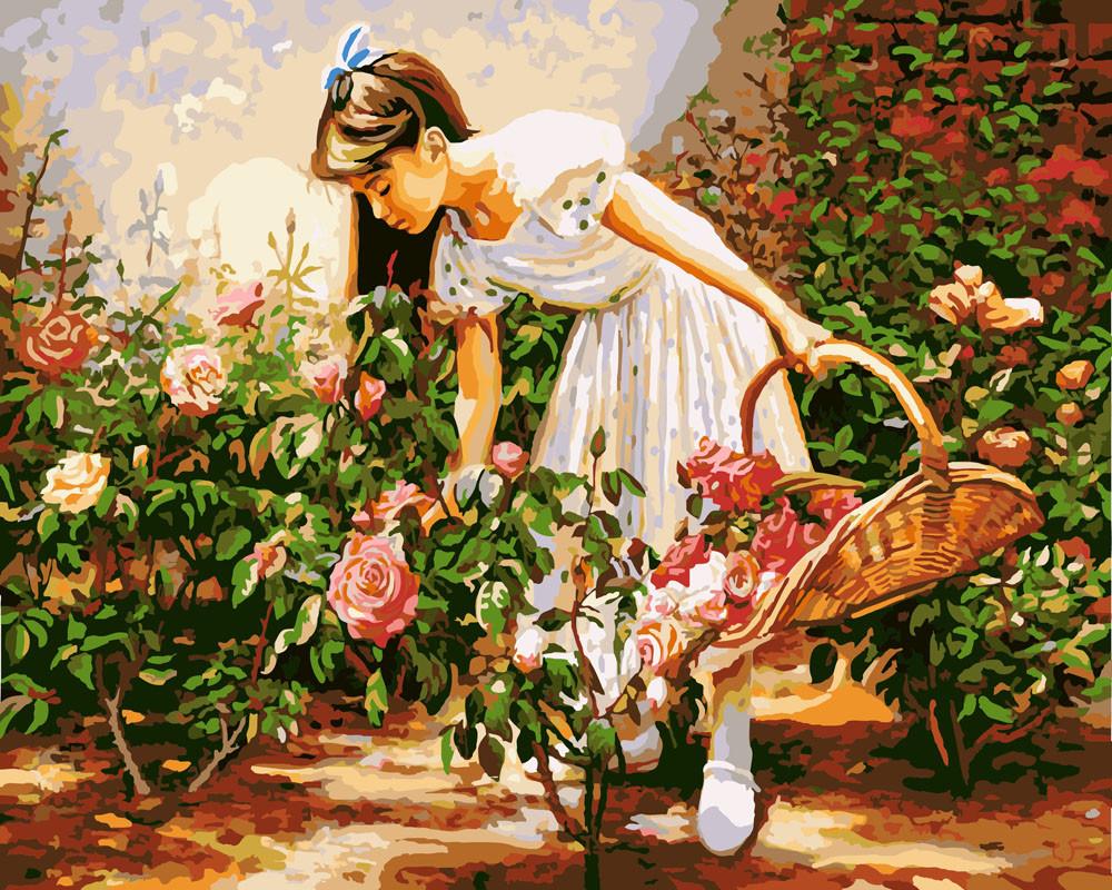 Картина по номерам Девочка с корзинкой роз, 40x50 см., Rainbow art