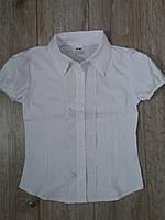 Блуза белая школьная с коротким рукавом для девочки р.140-164
