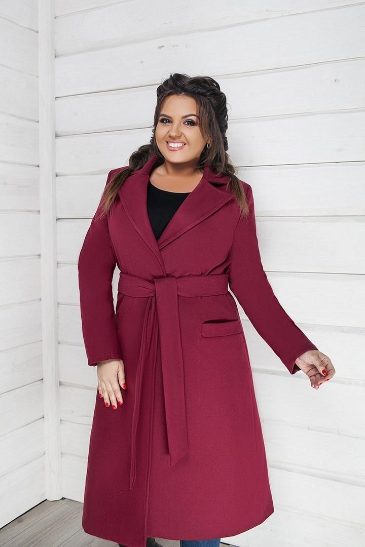 0f97a0be5b47 Женское стильное кашемировое пальто больших размеров 48-58 марсала, фото 1