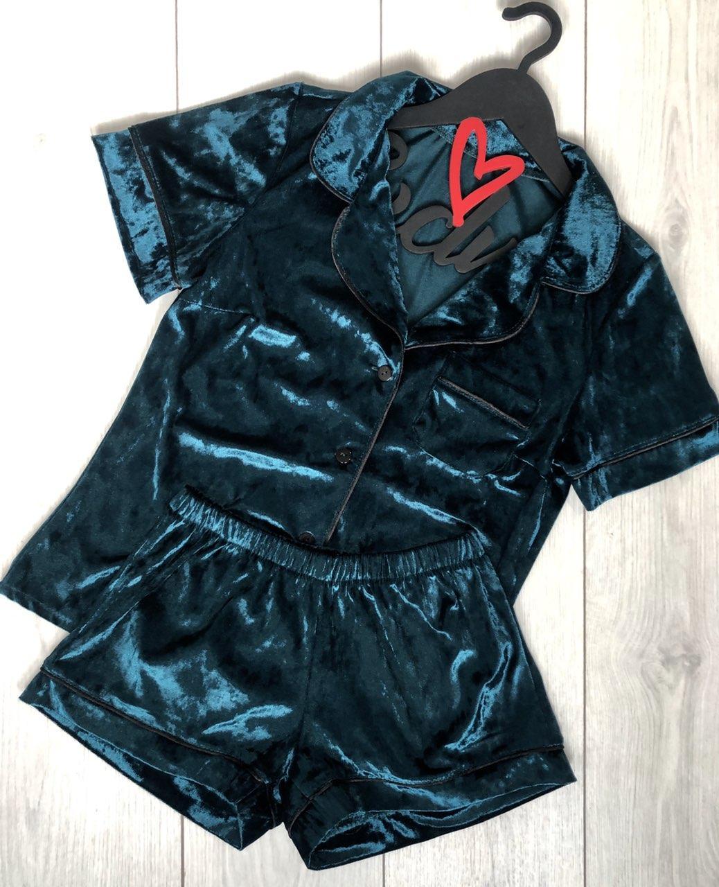 Велюровый комплект пижама рубашка и шорты, женские пижамы.