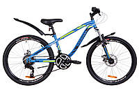 "Велосипед 24"" Discovery FLINT AM DD 2019 (14G рама-13"" St) ТМ Discovery Синий/зеленый матовый OPS-DIS-24-110"