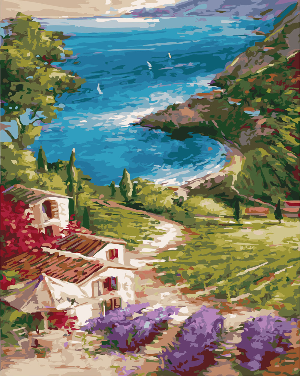 Картина по номерам Деревушка на берегу, 40x50 см., Rainbow art
