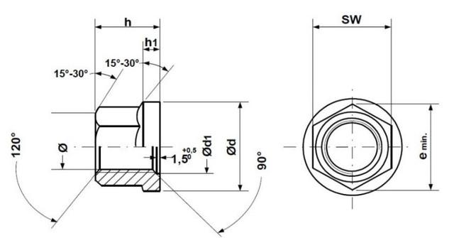 Колесная гайка din74361B чертеж