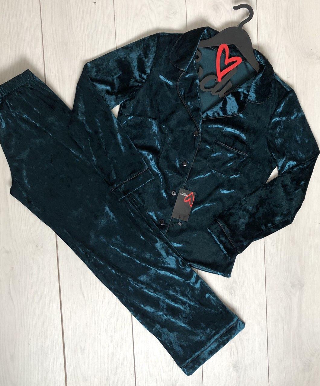 Велюровая рубашка+ штаны с кантом- пижама 029.