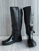 Женские резиновые  сапоги с утеплителем черные, фото 3