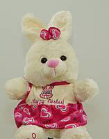 Зайчик 58 см в розовом платье плюшевая зайка игрушка мягкая музыкальная