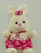 Зайчик 58 см в рожевій сукні плюшевий зайчик м'яка музична іграшка