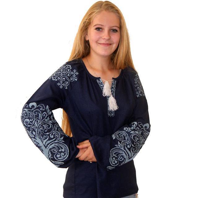 Вышиванка женская Ольга синий лен