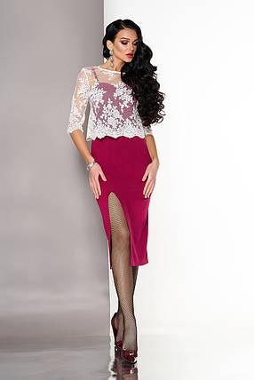 Красивое платье средней длины с разрезом и накидкой облегающее рукав три четверти вишневое, фото 2