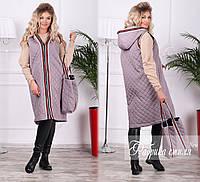 Женская  весенняя удлиненная жилетка на синтепоне с сумкой. 3 цвета!