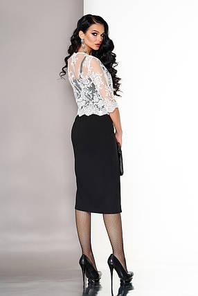 Элегантное платье средней длины с разрезом и накидкой облегающее рукав три четверти черное, фото 2