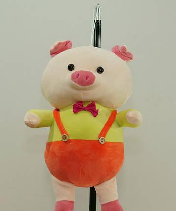 Свинка 28 см с бабочкой мягкая детская игрушка на подвеске милая свинка на подарок ребенку, фото 2