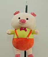 Свинка 28 см с бабочкой мягкая детская игрушка на подвеске милая свинка на подарок ребенку