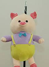 Свинка 28 см с бабочкой мягкая детская игрушка на подвеске милая свинка на подарок ребенку, фото 3