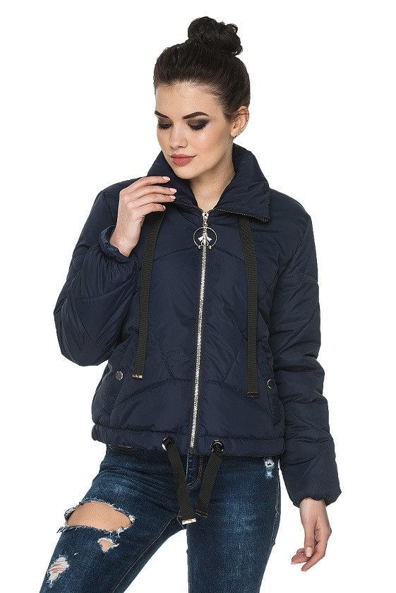 18937e2b859 Куртка короткая женская осень-весна Моника синий (44-54) - цена 1 ...