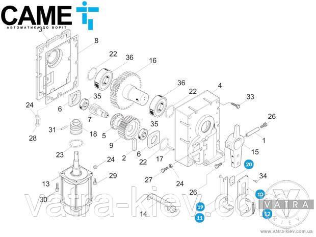 Came 119rig046 механизм разблокировки шлагбаума GARD