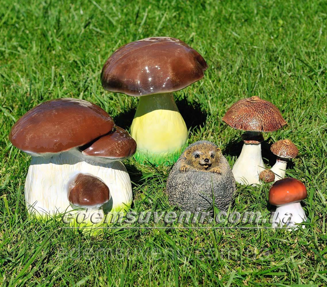 Садовая фигура Грибы, Подберезовик, Подберезовик малый, Гриб зонтик и Ежик клубочек