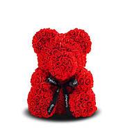 Мишка из 3D роз Красный с бантом 40см