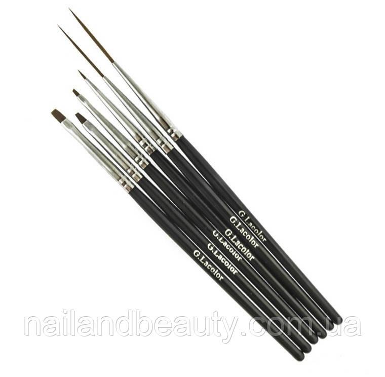 Набор кистей G. Lacolor для дизайна и китайской росписи с черной ручкой (6 шт.)