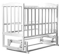 Детская кроватка  лакированная цвет БЕЛЫЙ (с маятником без ящика) боковина  ОПУСКАЕТСЯ, фото 1