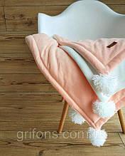 Дитячий велюровий плед в ліжечко 100 х 80 см (колір під замовлення) З помпонами