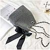 Серая женская сумка с бантом, фото 4