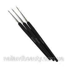 Набір кистей G. Lacolor для дизайну з чорною ручкою (3шт.)
