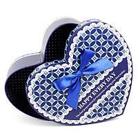 Подарочная коробка в форме сердца синяя 27 х 25 x 9 см, фото 1