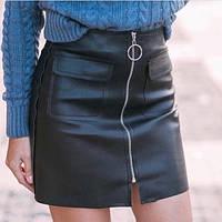 Женская юбка из экокожи на молнии черная M(44), фото 1