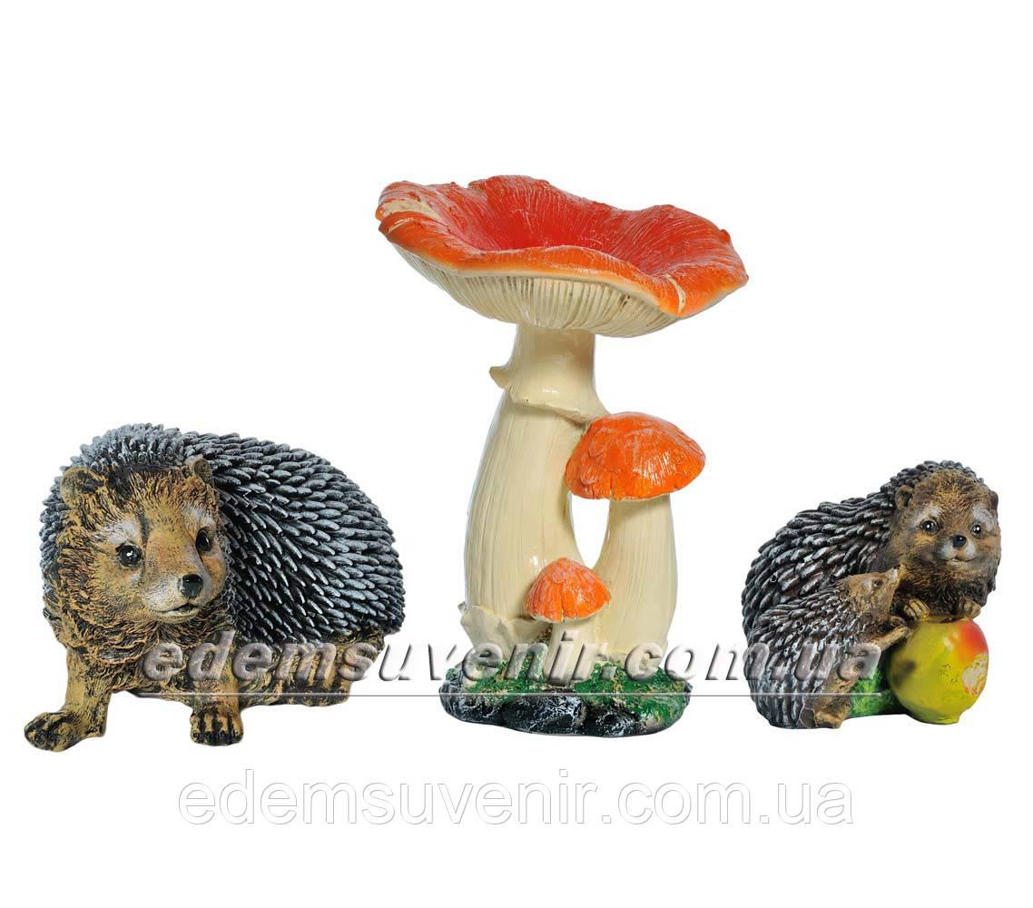 Садовая фигура Грибы Рыжики, Ежик Тоха и Ежи с яблоком