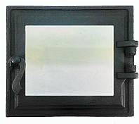 Топочная дверца для печи и камина со стеклом 330х360 мм, чугунная печная, каминная дверка 102865