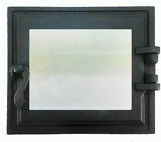 Топкові дверцята для печі і каміна зі склом 330х360 мм, чавунна грубна, камінна дверцята 102865