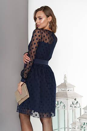 Красивое платье короткое пышная юбка сетка с длинным рукавом в горох темно синее, фото 2