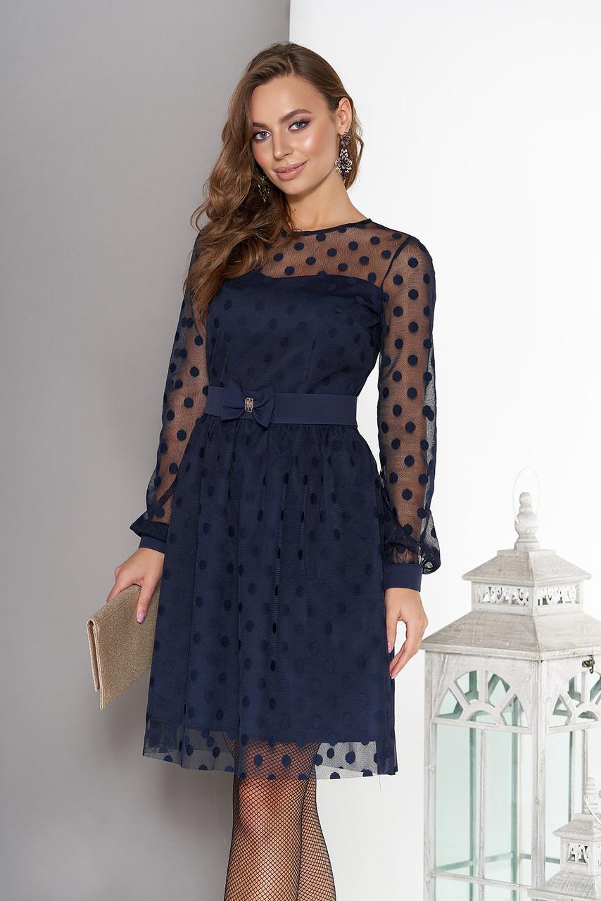 Красивое платье короткое пышная юбка сетка с длинным рукавом в горох темно синее