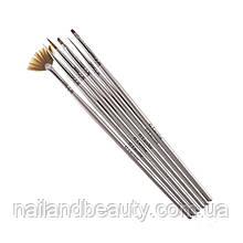 Набір кистей G. Lacolor для нарощування гелем і дизайну нігтів з сірою ручкою (6шт.)