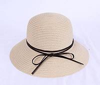 Пляжная панамка женская с ленточкой бежевого цвета опт