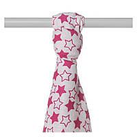 Пеленка детская бамбуковая, муслиновая XKKO 90x100 двухслойная 1шт. Маленькие малиновые звезды