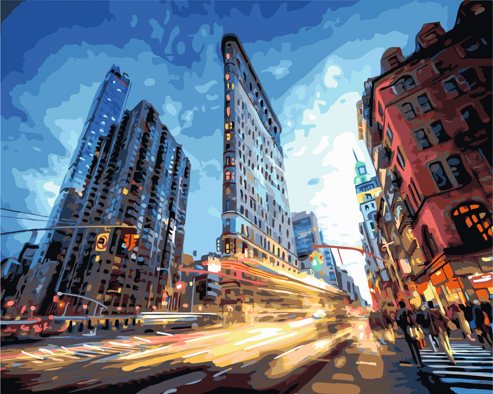 Картина по номерам Городская суета, 40x50 см., Rainbow art