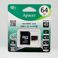 Карта памяти microSD 64Gb Apacer Class 10 с адаптером