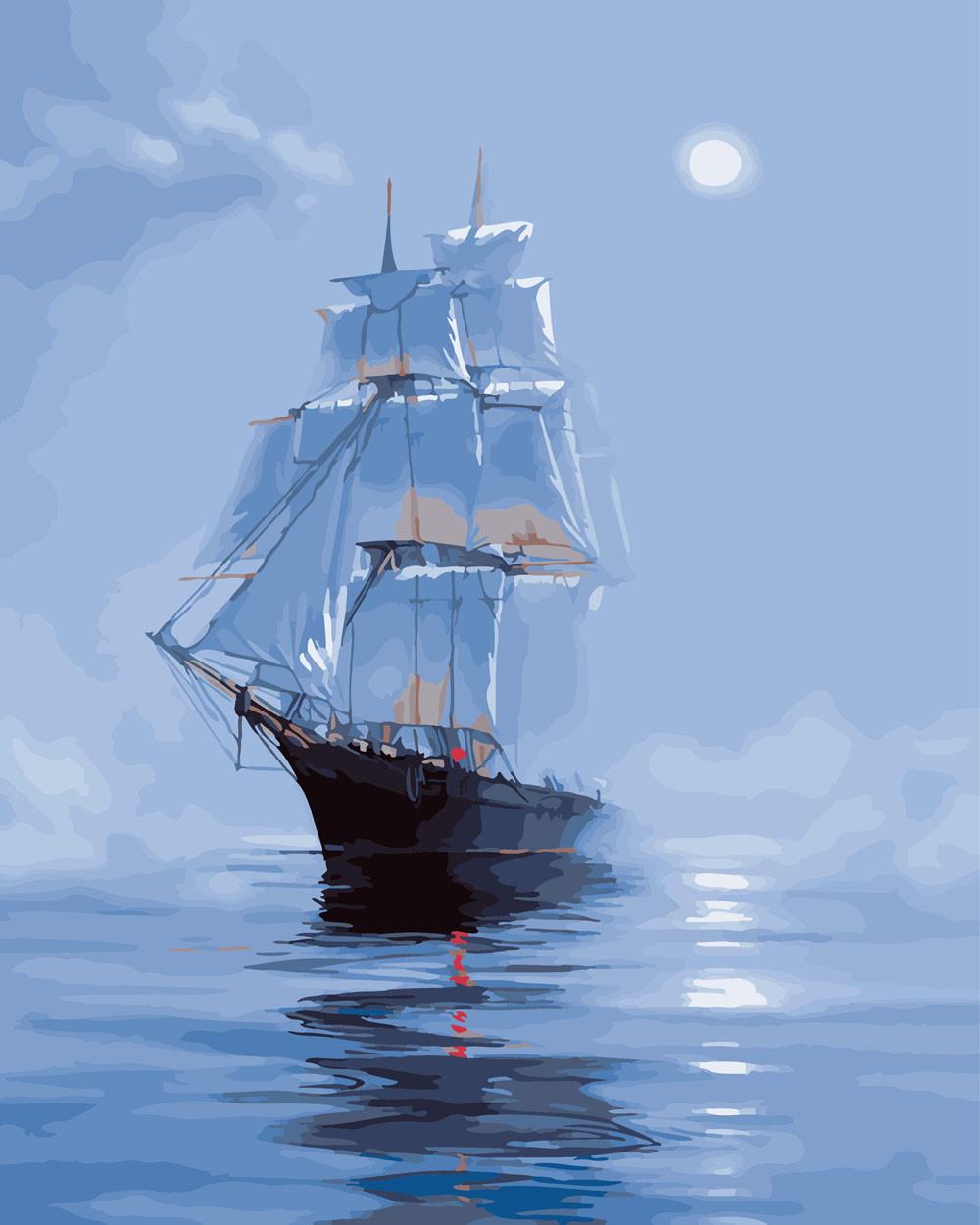 Картина по номерам На рейде при луне, 40x50 см., Rainbow art