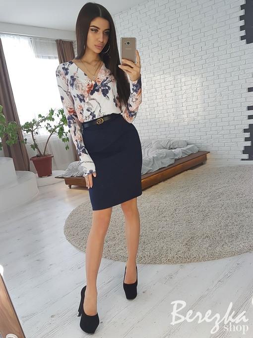 0f6560165d9 Женский костюм. Юбка и блузка с цветочным принтом  купить с ...