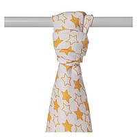 Пеленки бамбуковые  муслиновые XKKO 90x100 двухслойная 1шт. Маленькие оранжевые звезды