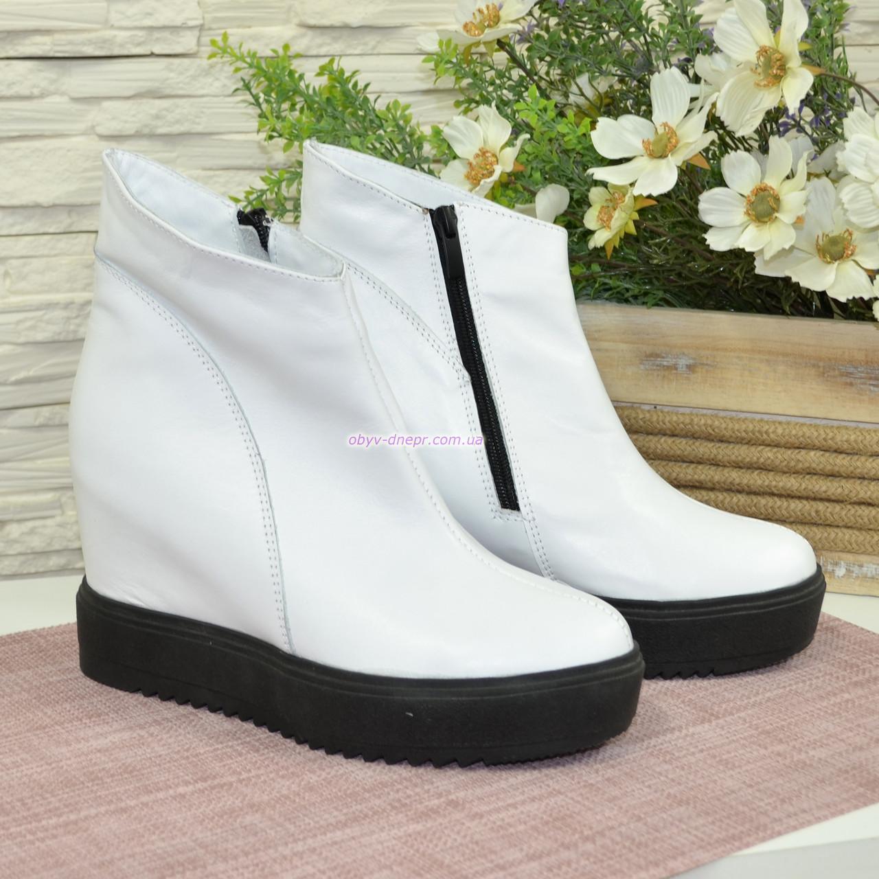 fd60e59b6d8c Ботинки зимние женские кожаные на платформе, цвет белый.