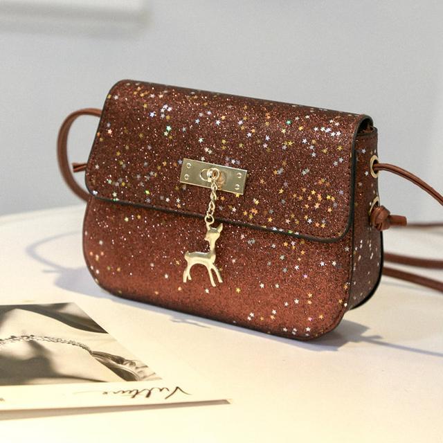 Блестящая сумочка через плечо коричневый