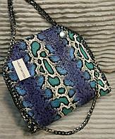 Сумка женская копия Stella MCcartney Стелла МКкартни эко-кожа с рептилией цвет синий, фото 1