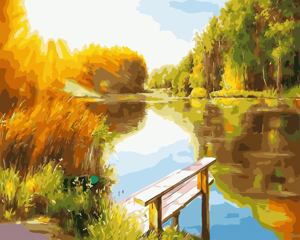 Картина по номерам Рассвет на озере, 40x50 см., Rainbow art