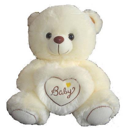 Плюшевый Мишка 26 см очаровательный бежевый медведь музыкальный с сердцем, фото 2