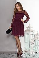 Модное платье короткое пышная юбка фатин длинный рукав в горох бордового цвета